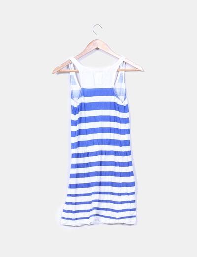 Vestido de rayas blanco y azul