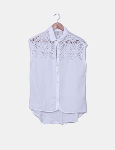 Blusa blanca combinada troquelada Bershka