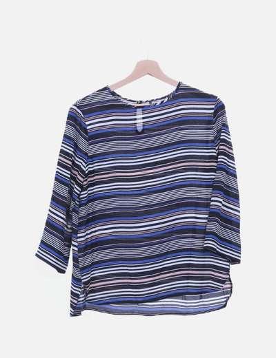 Blusa de gasa con rayas multicolor
