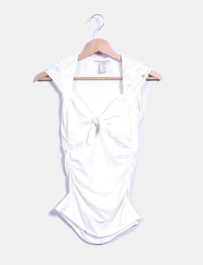 Top couleur nude à manches courtes Miss Sixty