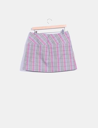 Mini falda de cuadros multicolor