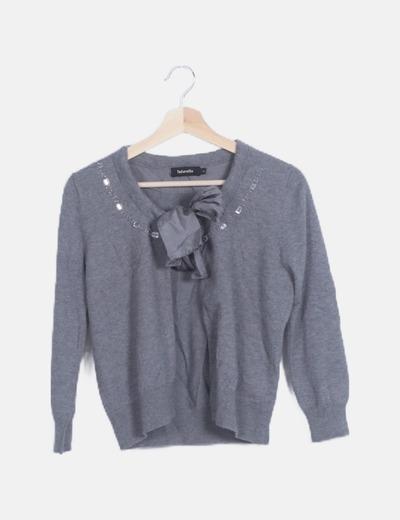 Chaqueta tricot gris strass manga larga