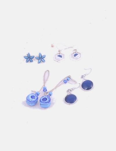 Pack 4 pendientes azul