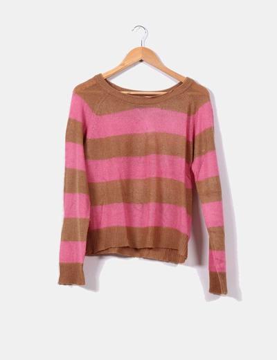 Suéter franjas camel y rosa H&M