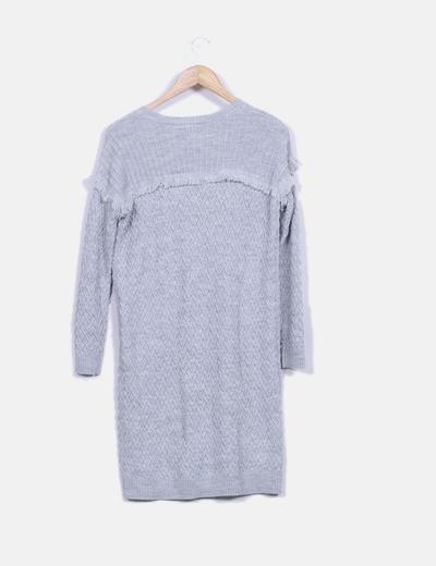 Vestido tricot gris