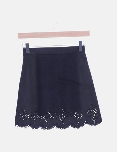 Mini falda antelina negra