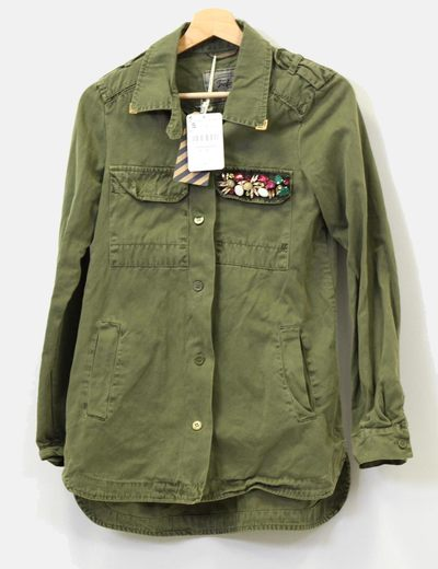 Chaqueta verde militar mujer zara