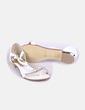 Sandales plates blanches avec motif avec strass RAXMAX