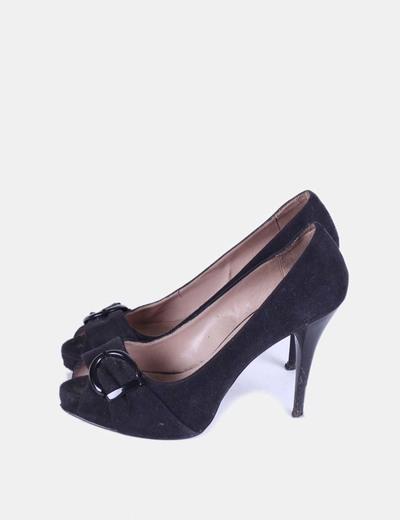 Zapato negro peep toe con hebilla Zara