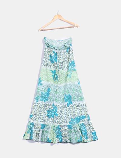 Maxi vestido estampado en tonos verdes   Bershka