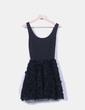 Vestido negro combinado falda rosetones Asos