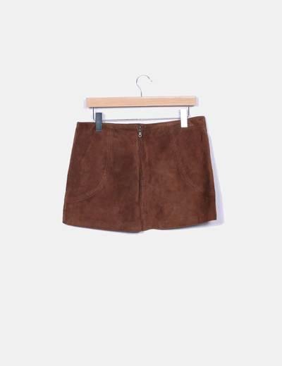 Suiteblanco Mini saia de couro marrom (desconto de 53%) - Micolet 40a5d61f2827