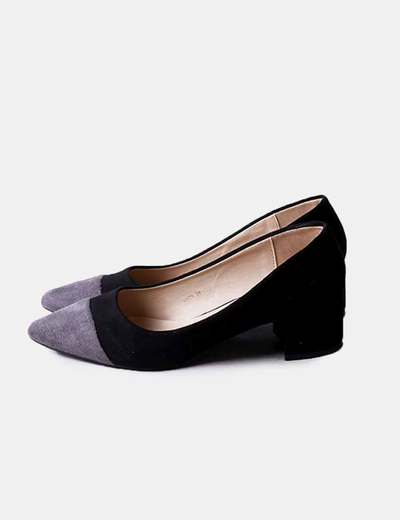 Chaussures noires talons gris toe Mulanka