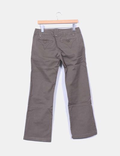 Pantalon verde kaki texturizado