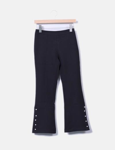 Pantalons noirs évasés avec motif perles Zara
