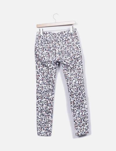 Pantalon denim floral