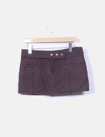 Mini falda marrón Pull&Bear