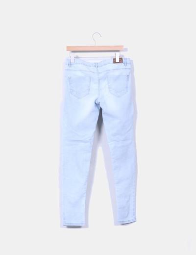 Pantalon denim claro elastico