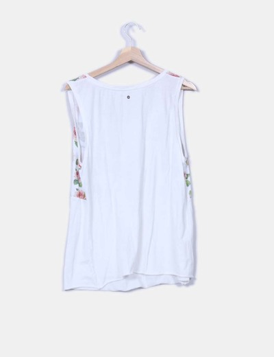 Camiseta beige print floral