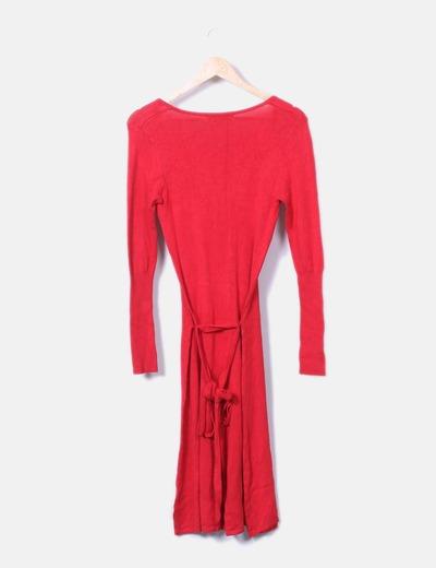 Vestido rojo manga larga zara