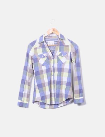 Camisa de cuadros con manga larga
