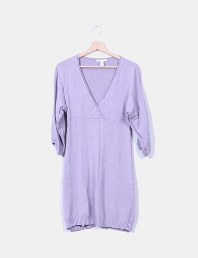 Vestido tricot lila escote en pico Mango