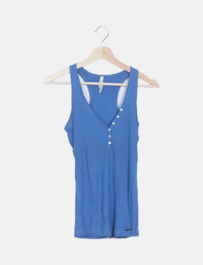 Camiseta azul canalé tirantes