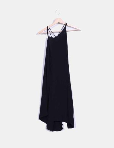 Vestido negro lace up Motel