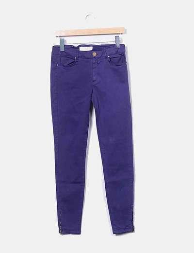 Pantalón algodón  azul pitillo