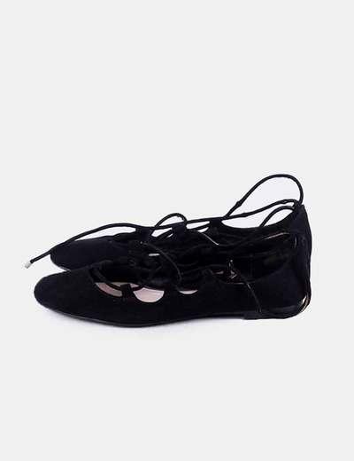 Bailarina negra lace up Zara