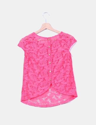 Camiseta rosa fucsia de encaje