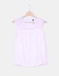 Blusa de gasa rosa con la arte de la espalda en gasa transparente y tejido de topos  Stradivarius