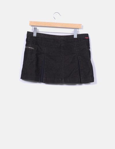Mini falda negra de pana