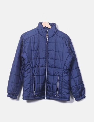 Blue quilted jacket with silver zipper Adidas