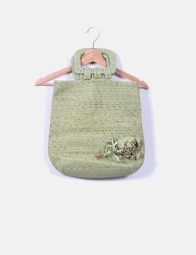 Bolso verde de rafia NoName