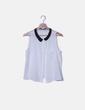 Blusa blanca manga sisa con solapas negras NoName