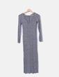 Vestido maxi tricot gris jaspeado Bershka