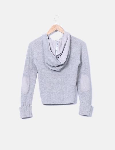 Cardigan tricot gris con capucha