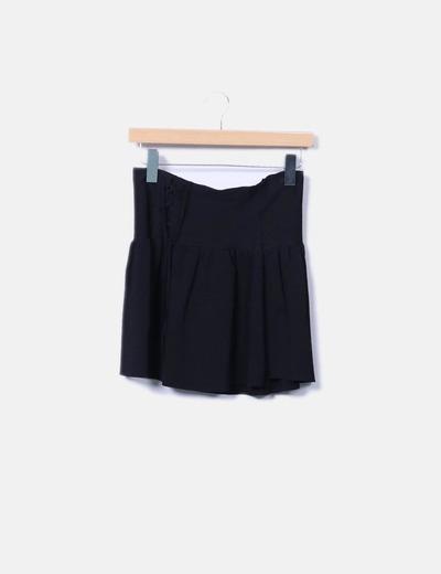 Falda tricot negro evasé Zara