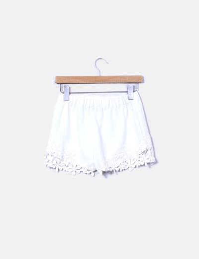 Shorts blanco crochet