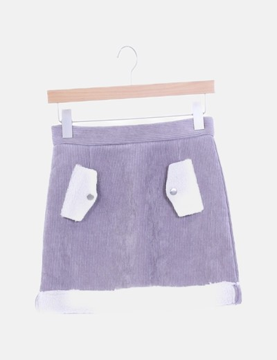 Mini falda pana gris con borreguito