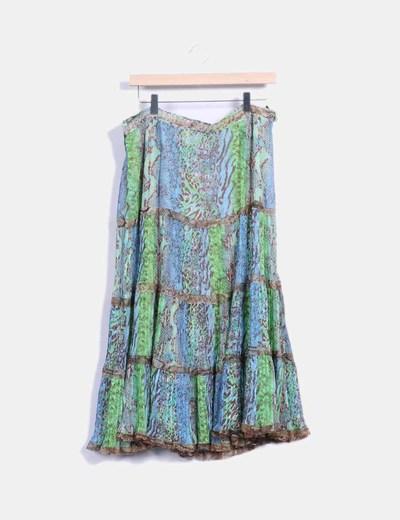 Falda animal print tonos verde y azul  Bertyss