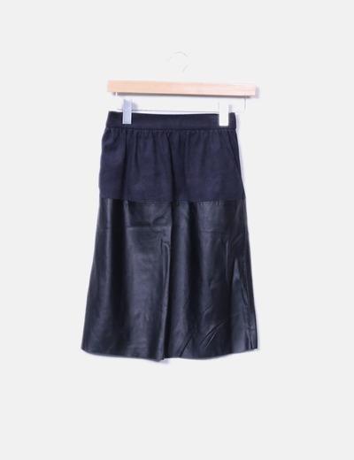 Falda midi combinada negra Zara