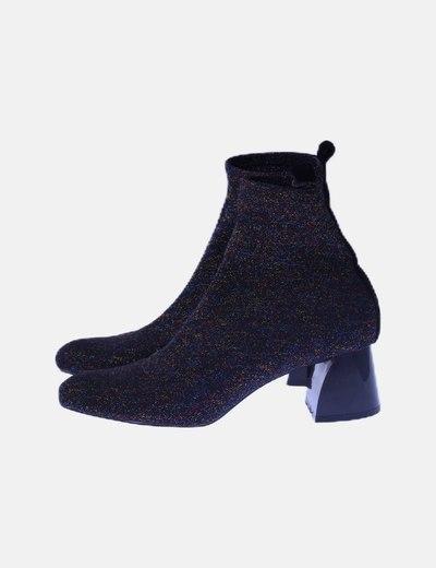 Botín calcetín negro glitter multicolor