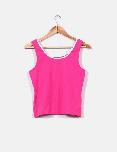 Camiseta deportiva rosa de tirante ancho