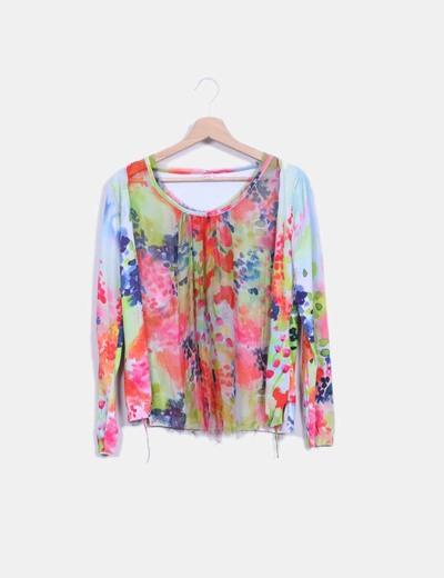 Top tricot multicolor combinado gasa Nolita