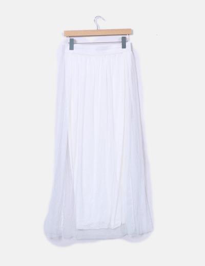 Falda midi blanca tul