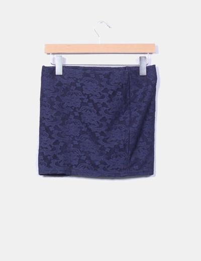 Mini falda azul puntilla