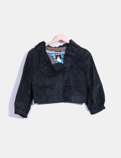 Veste gris en daim noir à manches bouffantes Hugo Boss