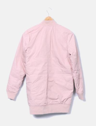 Bomber larga rosa acolchada reversible